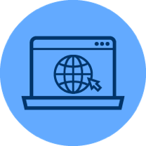 Icon cartoon of a mouse clicking an Internet symbol on a computer