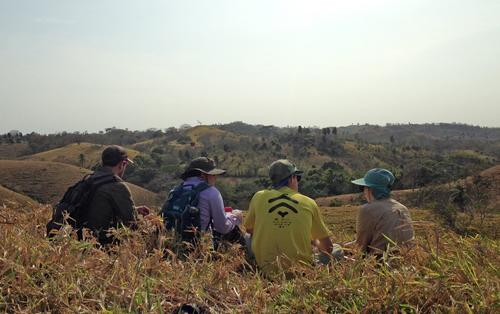 Students looking at mosaic forest landscape in Panama